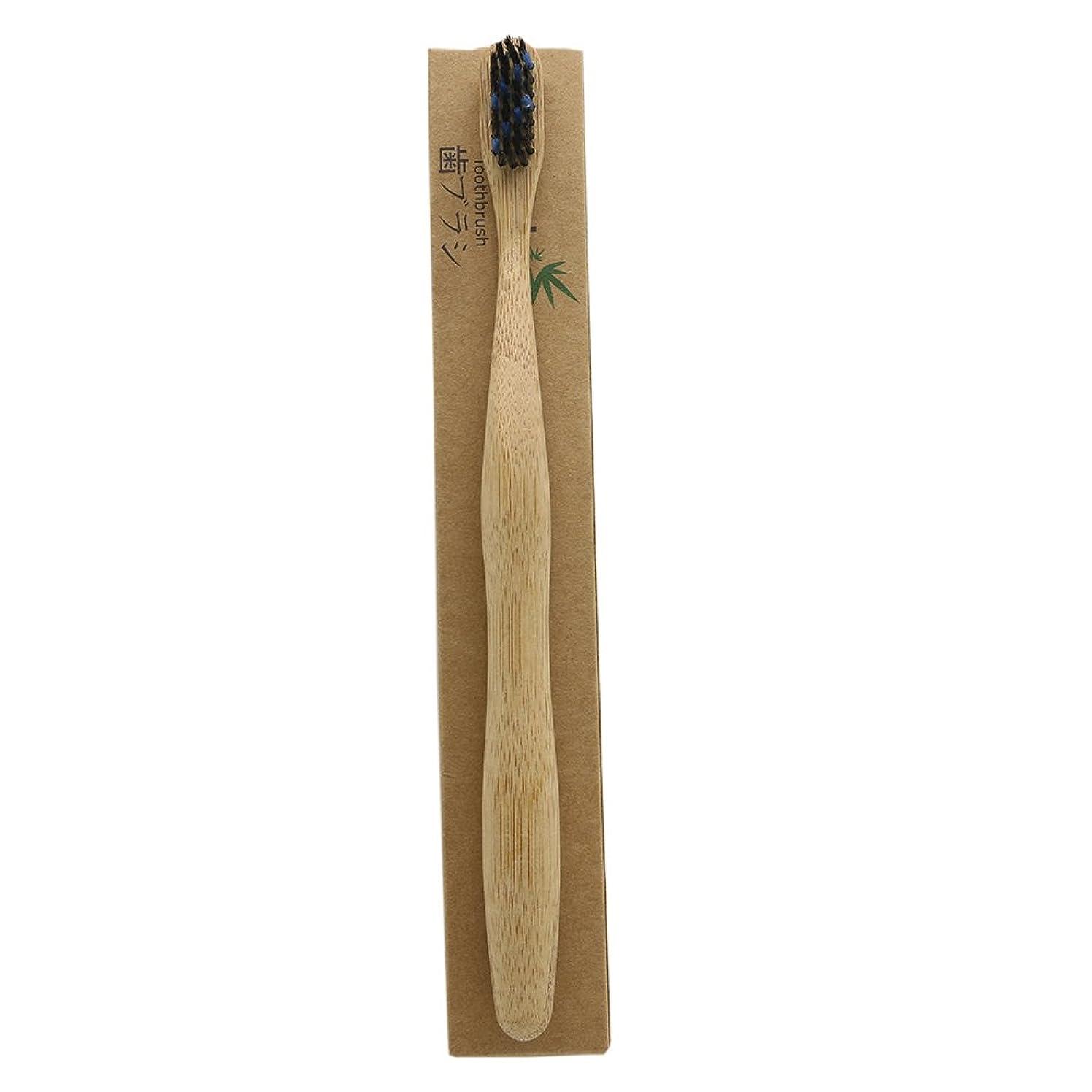 ユニークな所属場合N-amboo 竹製耐久度高い 歯ブラシ 黒いと青い 1本