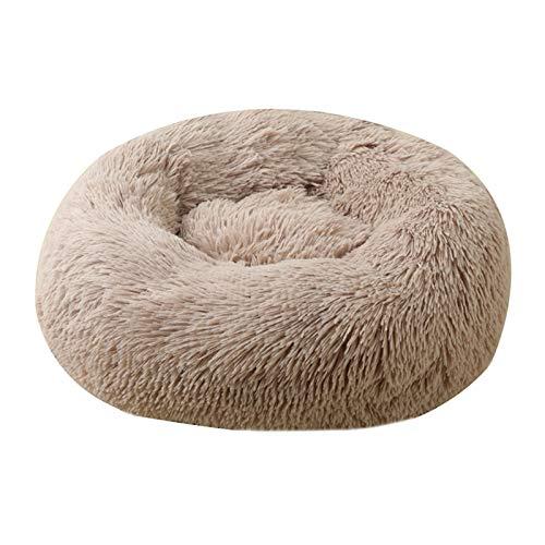 KEHUITONG PSWK Cesta de Mascotas de Peluche Suave Invierno Cuerpo cálido Camas Nido Bolsa de Dormir Sofá de cojín para Perros pequeños Grandes. (Color : Taupe, Size : XS 40cm)