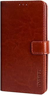 CASE BOX Faux Leather Flip Wallet with Card Slot Case for Xiaomi Poco M2 Pro(Brown)