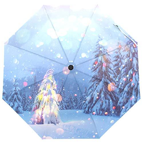 ISAOA Automatischer Reiseschirm, faltbar, Weihnachtsbaum mit Lichtern, leicht, kompakt, winddicht