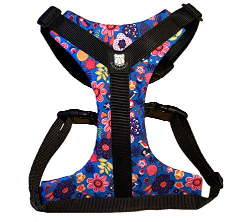 Bulldog Grade Harness for English-American-French Bulldogs - Custom Fit, No Pull, Reflective Vest Harnesses for Your Bully (Medium, Frisky Flowers)