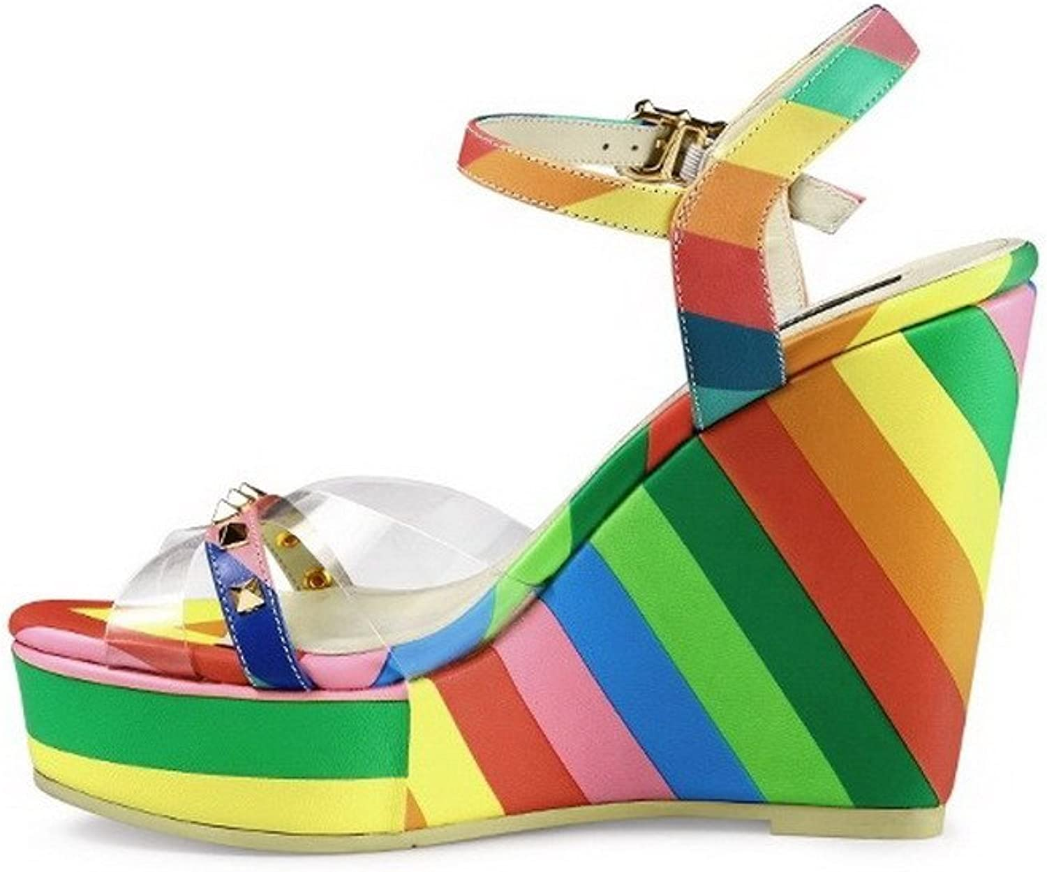 AllhqFashion Women's Round Open Toe High Heels Assorted color Sandals with Wedge and Stripe