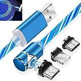 EEkiimy - Cable de carga magnético 3 en 1 (90 grados, cable de carga micro USB tipo C/LED, cable de carga USB para todos los teléfonos XS/8 Plus Galaxy S10)