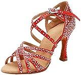 MGM-Joymod Mujeres Peep Toe Cruz Correa Rhinestones Tango Social Salón de Baile Latino Moderno Zapatos de Baile de Boda Sandalias, color Rojo, talla 37 EU