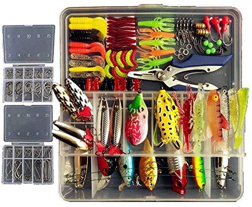 Lyu Bao 234 PCS Fishing Baits Kit in Box Fishing Plier Fishing Frog Lures Soft Fishing Lure Hard Metal Lure VIB Rattle Crank Popper Minnow Jighead Worms Hooks for Trout Bass Salmon Saltwater Freshwate