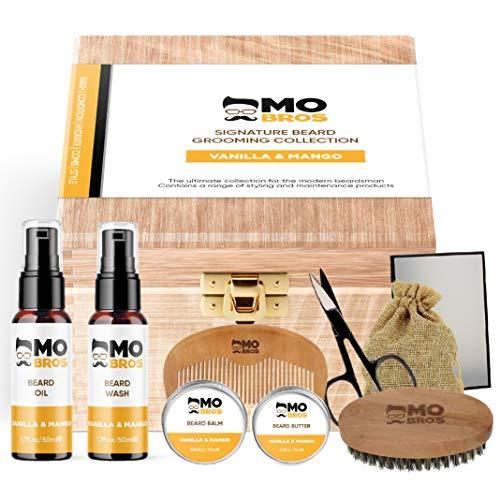 Mo Bro's Kit de Soin Barbe Signature Cadeau Personalisé Homme | Huile Barbe | Savon à Barbe | Cire à Moustache | Baume à Barbe | Peigne Barbe | Ciseaux Barbe | Brosse à Barbe | Boîte Cadeau en Bois