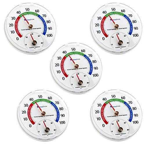 Lantelme 5 Stück Kombi Thermometer Hygrometer Set Überwachung von Temperatur Luftfeuchtigkeit Analog Luftfeuchte 6945