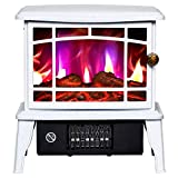 XIANGAI Calefactor Calentador Estufa Eléctrica - Anafe con Estufa de leña Llama Efecto - Chimenea Estufa Calentador Interno -1500W Rojo, Color: Blanco (Color : White)