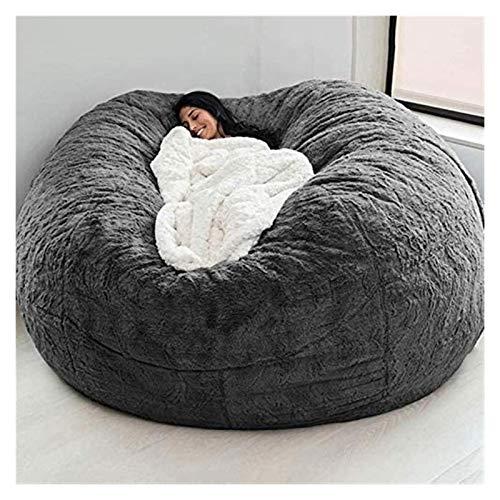 Durable Comfortable Bean Bag Chair Dropshiping Fur Soft Bean Bag Sofa Cover,living Room Furniture Party Leisure Giant Big Round Soft Fluffy Faux Cushion Bed (Dark gray)