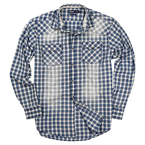 Mens Western Pearl Snap Long Sleeve Cowboy Shirts (Blue/White, Modern Fit: Medium)
