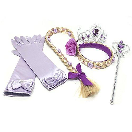 GenialES 4PCS Principessa Dress Up Accessori per Ragazze Guanti Lila Diadema Varita Magia Treccia per Festa di Compleanno Cosplay Carnival Halloween Party
