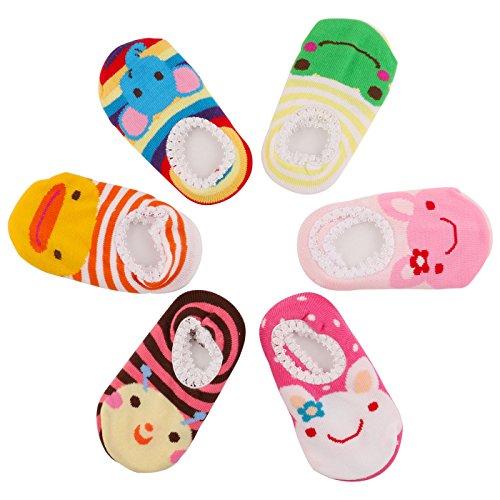 GOPOWD Bebé Niña Calcetines Antideslizantes con Algodón 6 Pares para 1 a 3 años