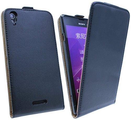 ENERGMiX Handytasche Flip Style kompatibel mit Sony Xperia Style (T3) in Schwarz Klapptasche Hülle