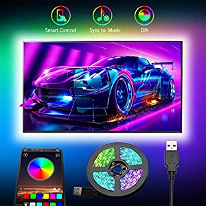 Tiras LED TV, Romwish 3M Tira LED USB RGB con APP, 16 Millones Colores DIY 5050 SMD,Sincronización de música Iluminacion Luces LED TV Escenas para 40-60in HDTV/PC Monitor