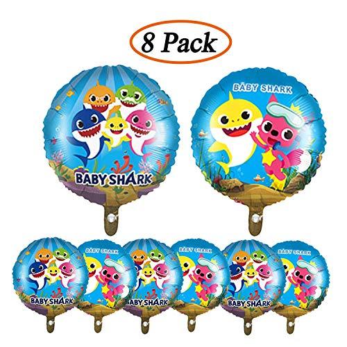 Micher 8 unidades 18 pulgadas Baby Shark Theme Cumpleaños Foil Helio Globos Suministros de fiesta Decoraciones para niños Baby Shower Decoración de eventos