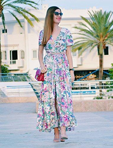 Milumia Women's Button up Split Floral Print Flowy Party Maxi Dress Large Pink