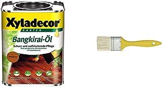 Xyladecor 5089014 Bangkiraiöl Bangkirai Öl 5L mit SCHULLER Flächenstreicher mit Kunststoffstiel, breite 20 mm, 6 Stärke, 1 Stück