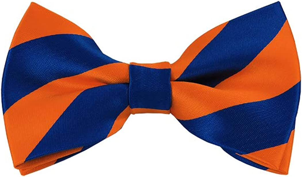 Royal Blue and Orange College Stripe Pre-Tied Bow Tie