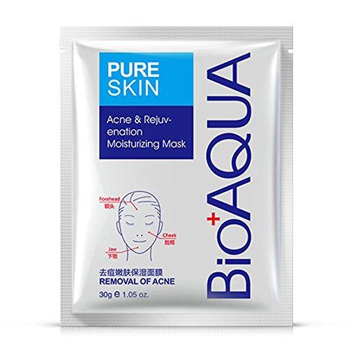BIOAQUA PURESKIN - Acne & Rejuvenation Mask Sheet Treatment Face Rejuvenation Effective Removal Hamamelis Extract Nourishing Of (PACK OF 4 Mask Sheets = 4 x 30g)