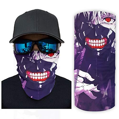 Hothotvery Braga de cuello unisex Tokyo Ghoul Kaneki Ken estampado, pasamontañas, cinta para la cabeza, pañuelo para la cabeza, protección UV blanco Talla única