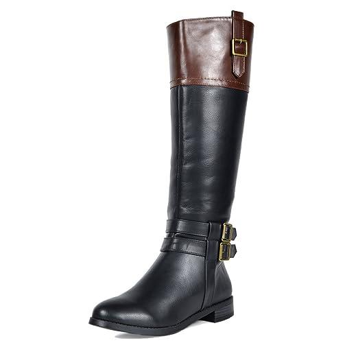 2bab03598761 TOETOS Women s Diane Black Brown Knee High Winter Riding Boots Wide Calf  Size 11 ...
