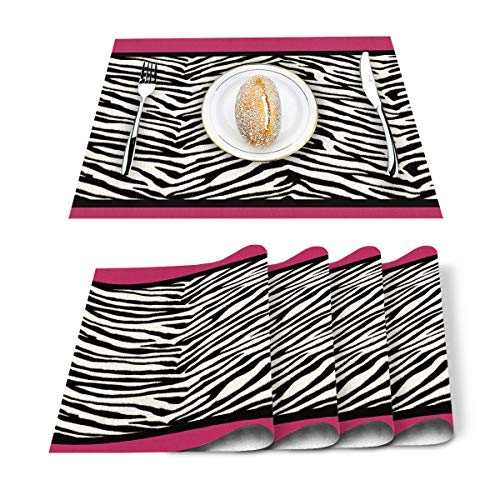 Home L6 Placemats for Dining Table Set of 6, Animal Zebra Print Table Mats Stain Resistant Heat Insulation Non-Slip Washable Table Decoration for Kitchen, Black White Pink