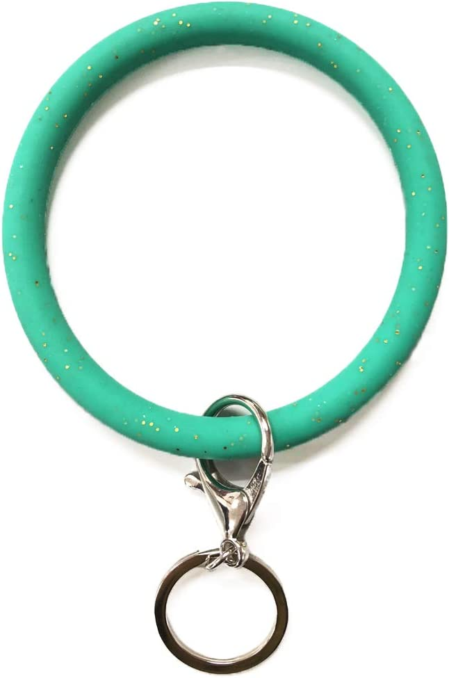 Prudance 1 PCS Silicone Bangle Key Ring Wrist Keychains Keyring Bracelets Round Key Chain Holder (Green with Gold)