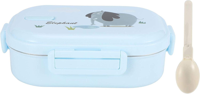 Fiambrera japonesa para niños, contenedor para oficina para cocina(Pure blue-elephant, 12)