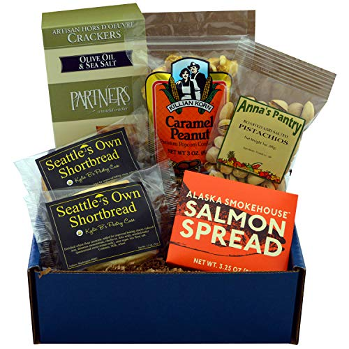 Starry Night Gift Box featuring Smoked Salmon Spread, Crackers, Pistachios, Shortbread & Caramel Corn with Peanuts