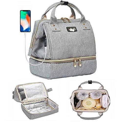 Zaino Mamma Multifunzione Neonato Borsa con USB per Viaggio, 2 Ganci di Passeggino e 2 Sacchetto Termico di Bottiglia, con Sacchetto di Isolamento TermicoImpermeabile