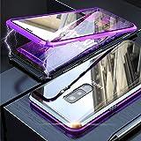 Funda Samsung Galaxy S9 Plus, Absorción Magnética Carcasa[Marco de Metal] [Front and Back Tempered Glass] 360 Grados Slim Fit Ultra Carcasa de Peso Ligero, para Galaxy S9 Plus Cover Case - Púrpura