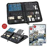 42 pcs Crayons de Dessin et Kit de Croquis Professionnels - avec Coffrets, Carnet de...
