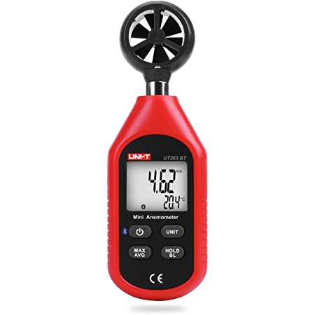 Uni-T UT363BT - Mini Anemometro Bluetooth digitale portatile con termometro e max/min per la raccolta dati meteo e sport all'aria aperta windsurf vela con display LCD retroilluminato