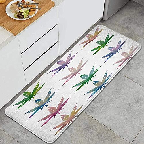 SUGARHE Alfombras para Cocina Baño de Cocina Absorbente Alfombrilla,Planta de Hoja de Cannabis Marihuana Marihuana,para Dormitorio Baño Antideslizantes Lavables