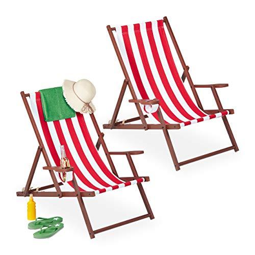 Relaxdays Liegestuhl klappbar 2er Set, Holz & Stoff, 3 Liegepositionen, Armlehnen, Getränkehalter, Strandstuhl, weiß/rot
