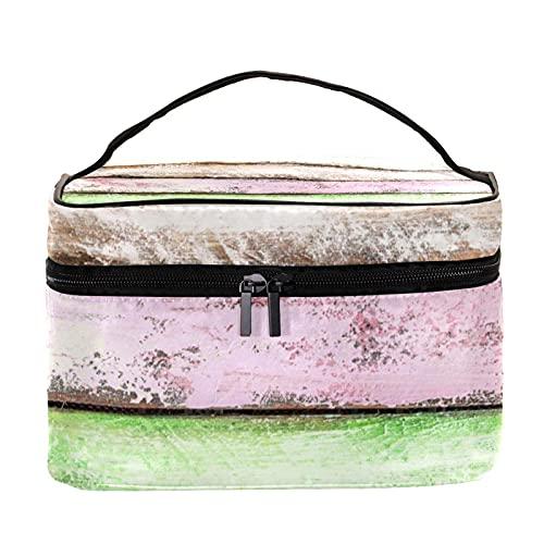Bolsa de maquillaje de madera colorida vintage de viaje de madera grande bolsa de cosméticos organizador de maquillaje con cremallera para mujeres y niñas