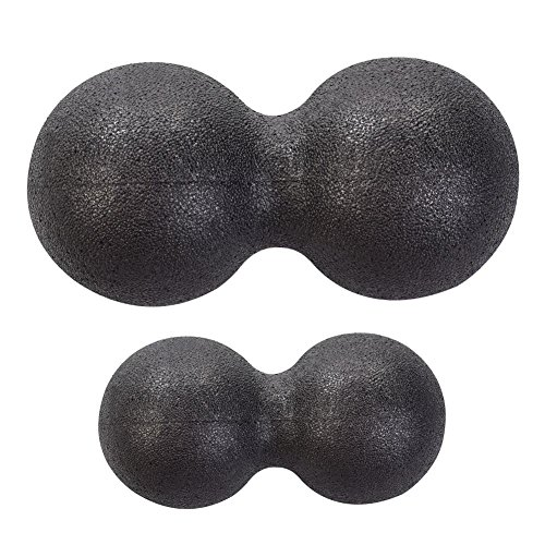 globalqi Massage Ball Mini Stress Peanut Massage Ball Arm Rücken Schulter Hals und Taille Bein Rehabilitation Training Fitness Ball, Schwarz , M