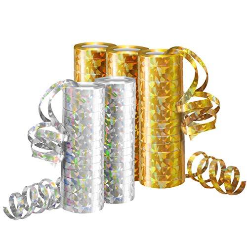Jonami Silvester Deko 2021 Luftschlangen Metallic Gold & Silber - 5 Rollen mit 18 Glitzernden Luftschlangen für Neujahr und Geburtstag -5STK-