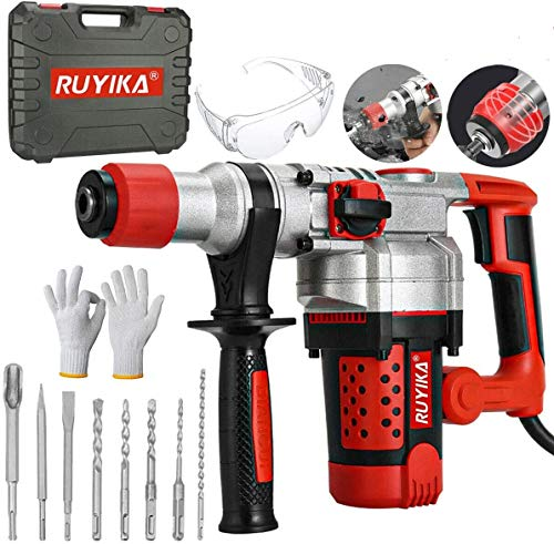 RUYIKA Hammer Drill, Breaker Heavy Duty 2000W 3300RPM Rotary Electric Cored Percussion Drill with Drill Bits Set, 3 Functions, 4 Sized SDS Plus Drill