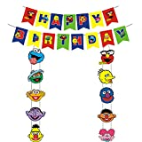 Sesame Street Party Decorations,Sesame Theme Happy Birthday Banners Sesame Door Sign Porch Sign for Elmo Cookie Monster Big Bird Ernie Oscar Inspired Party Supplies
