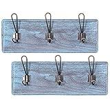 Comfify Rustico Montado en la Pared Rack con 3 Ganchos Robustos - Juego de 2 –Entrada Vintage Percheros de Madera - Rustico Rack para Abrigos, Bolsos, Toallas y más - 44.45 x 15.59cm - Azul