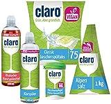 CLARO Kit de Nettoyage Écologique « Boîte pro 5 en 1 » Avec Poudre d'Entretien, Tablettes pour Lave-Vaisselle, sel Hygiénique, Liquide Vaisselle et Produit de Rinçage