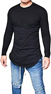 Makkrom Mens Hipster Slim Fit Long Sleeve Stretchy T Shirt Solid Pullover Tops