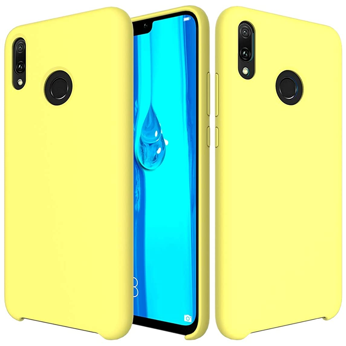 GUOSHU Mobile Phone Case Bag Solid Color Liquid Silicone Dropproof Protective Case for Huawei Y9(2019) (Black) Back Cover Case (Color : Yellow)