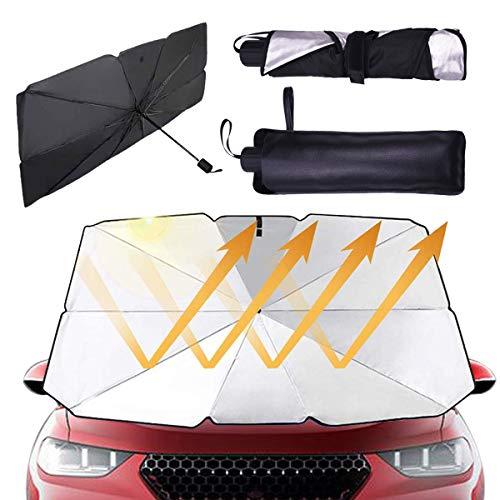 C100AE Plegable Parasol Coche Delantero, Sombrilla Paraguas del Coche Titanio Plateado, Parasoles de Coche para Protección Contra Rayos UV y Calor, para SUV/Automóviles/Camionetas, 57.3*31.7 in