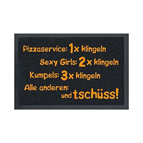 Prijs op steel deurmat - pizzaservie: 1 x bel, grappige voetmat met spreuk, vuilmat entree, cadeau voor mannen