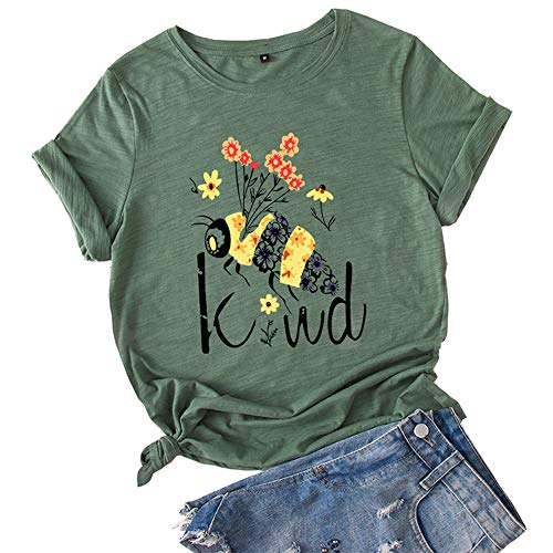 Damen Bee Art T-Shirt Kreative Süße Lässige Lose Kurzarm Rundhalsausschnitt Be Kind Print Tops
