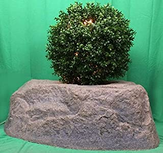 """Artificial UV Rated Outdoor Lighted 24"""" Ball Boxwood Topiary Tree Bundled with Rock Planter Cover and Lights, by Silk Tree Warehouse"""
