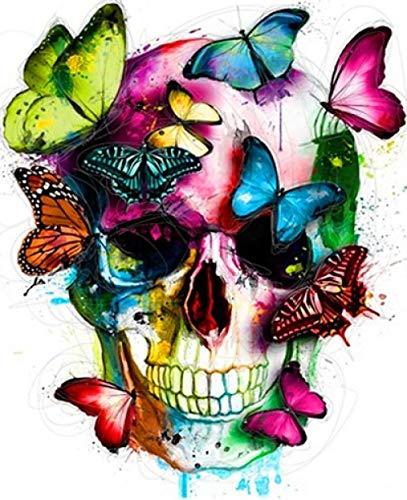 MalenNachZahlenErwachsene,Gerahmtes Bild Diy Butterfly Skull Öl Malen Nach Zahlen Malerei & Amp; Kalligraphie Von Schönen Tiere Modernes Bild Home Dekor 40 X 50 Cm, 40 X 50 Cm Frame Bereit