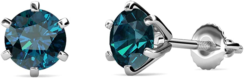Cheap mail order shopping TriJewels Blue Diamond Six Popular Prong Stud Martini Earrings Solitaire
